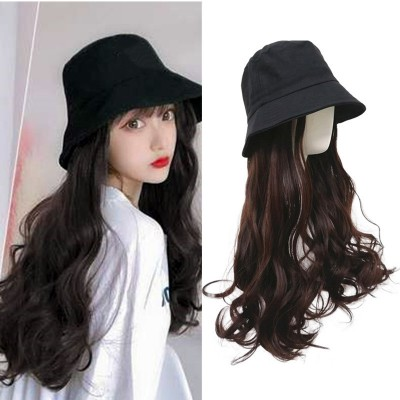 Wig female long curly hair big wave hat with wig one female summer fashion natural full headgear