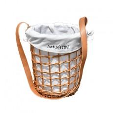 Rattan wicker straw woven flower basket diagonal flower basket cloth lining belt rattan bag basket portable