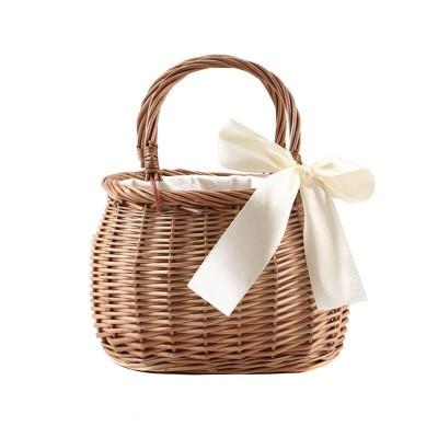 Rattan flower basket handbag Korean woven vegetable basket cloth lining willow new female bag ins with summer bamboo woven