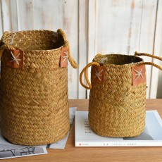 Natural straw woven flower basket flower basket decoration bamboo woven living room weaving flower arrangement hanging portable hanging handmade flower basket