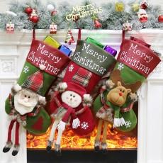 Christmas decorations Christmas big socks Christmas tree pendants children's gifts candy bag scene dress up 3-piece set