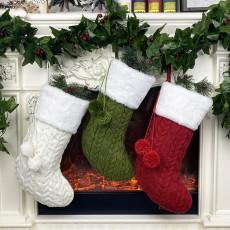 Christmas knitted socks gift bag Christmas gift bag Christmas decoration supplies pendant 3-piece set