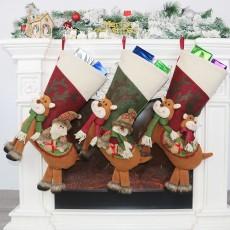 Christmas decorations Santa Claus pendant Christmas sock gift bag Christmas decoration Christmas candy bag 3-piece set