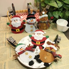 Christmas decorations table knife and fork set creative cartoon hotel tableware set Santa Claus knife and fork bag 6-piece set