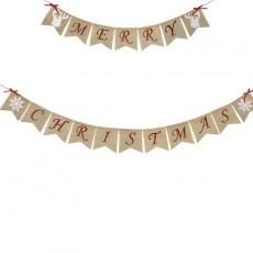 New Christmas party decoration set, Christmas letter paper flag banner, spiral tag, cake flag 2-piece set