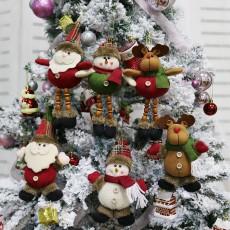 Christmas decorations for the elderly, snowman, elk, Christmas gifts, small pendants, plush dolls, Christmas tree pendant supplies, 6 sets