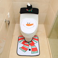 Santa Claus toilet cover Santa Claus toilet cover + foot pad + water tank cover + tissue cover