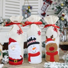 New Christmas Articles Red Wine Bottle Cover Elderly Snowman Elk Red Wine Bag Household Items Christmas Decorations 3-Piece Set