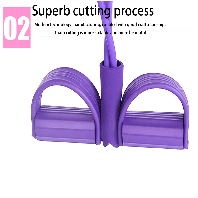 Newly 4 Tube Fitness Elastic Sit Up Pull Rope Abdominal Exerciser Home Gym Sport Training Equipment Pull Rope Pedal Ankle Puller 3