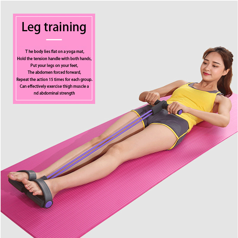 Newly 4 Tube Fitness Elastic Sit Up Pull Rope Abdominal Exerciser Home Gym Sport Training Equipment Pull Rope Pedal Ankle Puller 6