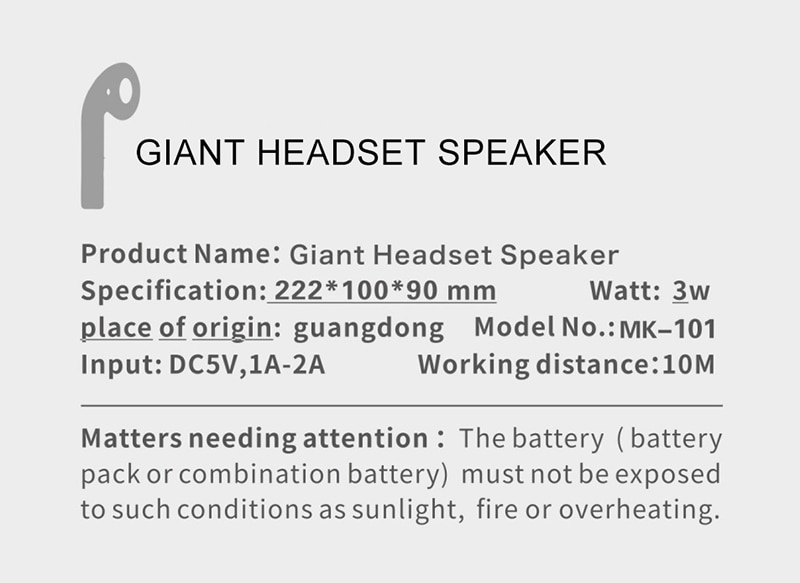 Giant Headset Speaker Bluetooth Earphone Mode Wireless Portable Speaker Music Loudspeaker Support FM Radio Mic TF Card AUX Cable 2