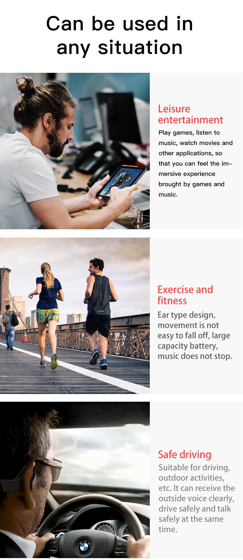 New Bluetooth Headphones Bone Conduction Earphone Outdoor Sport Headset Earhook Wireless Bluetooth Earphones Waterproof Earbuds 3