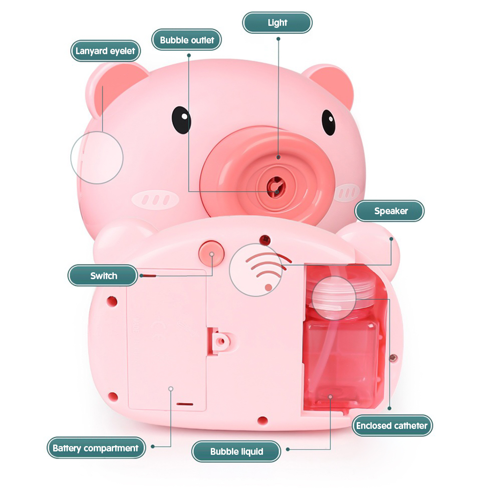Automatic Funny Cute Cartoon Pig Camera Baby Bubble Machine Outdoor Automatic Maker Bubble Gifts for Kids and Girls 2