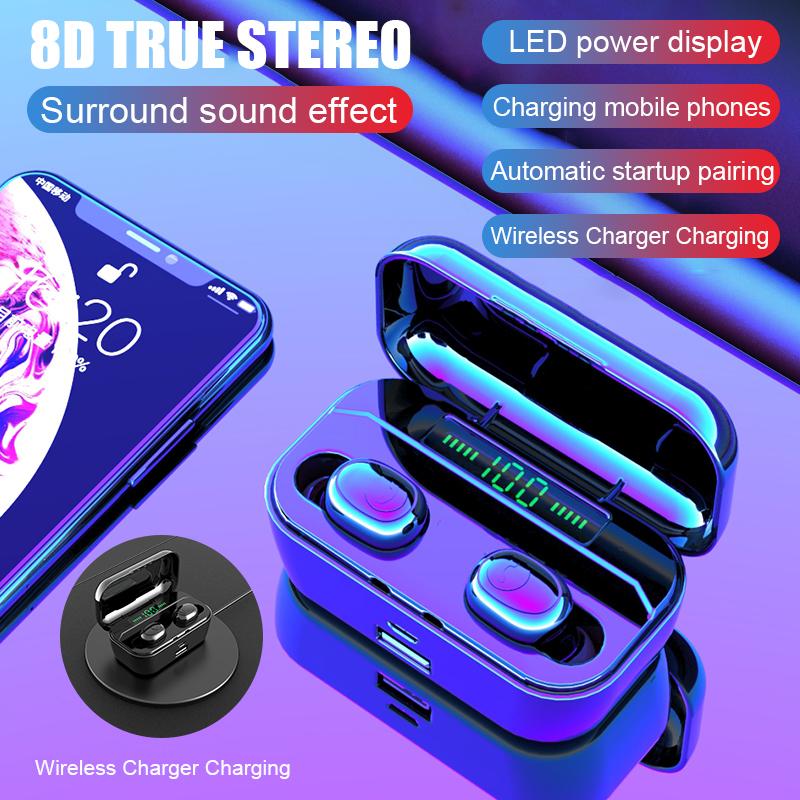LED Display Earphone Bluetooth 5.0 Wireless Bluetooth Stereo Earphones Earbuds 2200mAh Power Bank Earphone Waterproof 0