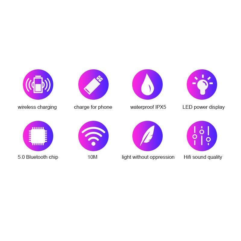 LED Display Earphone Bluetooth 5.0 Wireless Bluetooth Stereo Earphones Earbuds 2200mAh Power Bank Earphone Waterproof 4