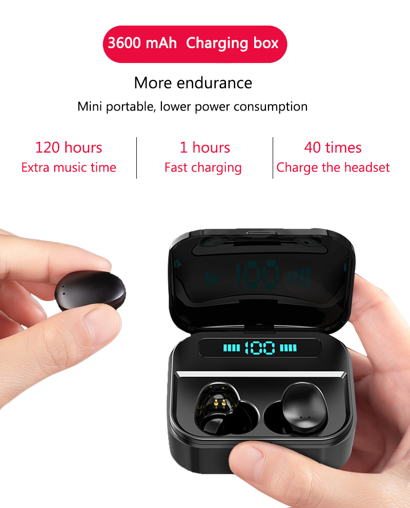 X7 Bluetooth Earphone 3600mAh Power Bank True Wireless Earbuds M7 TWS Touch Control Wireless Earphones For iPhone xiaomi huawei 4