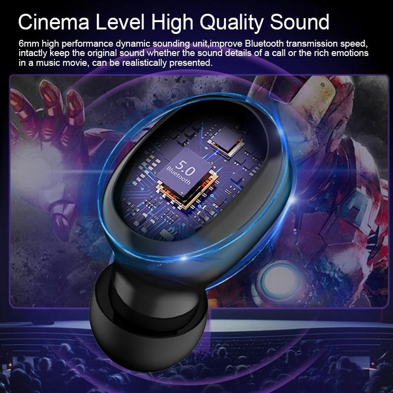 LED Display Earphone Bluetooth 5.0 Wireless Bluetooth Stereo Earphones Earbuds 2200mAh Power Bank Earphone Waterproof 1