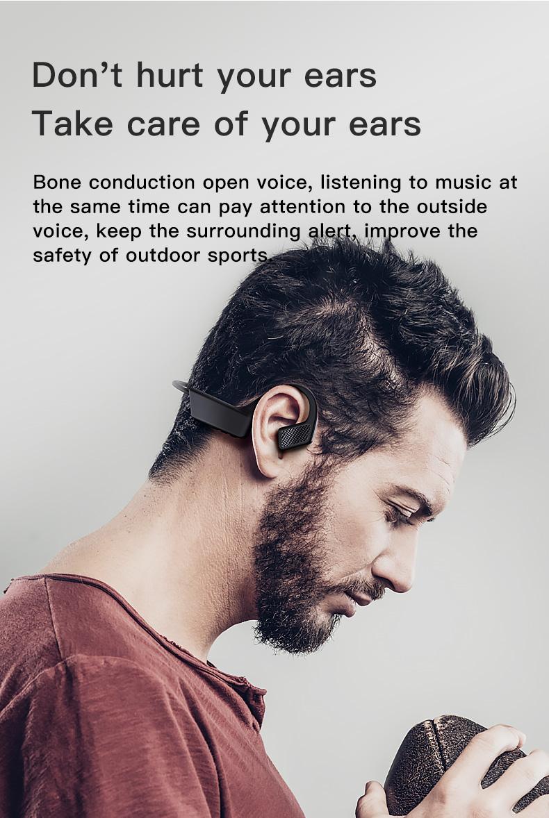 New Bluetooth Headphones Bone Conduction Earphone Outdoor Sport Headset Earhook Wireless Bluetooth Earphones Waterproof Earbuds 6