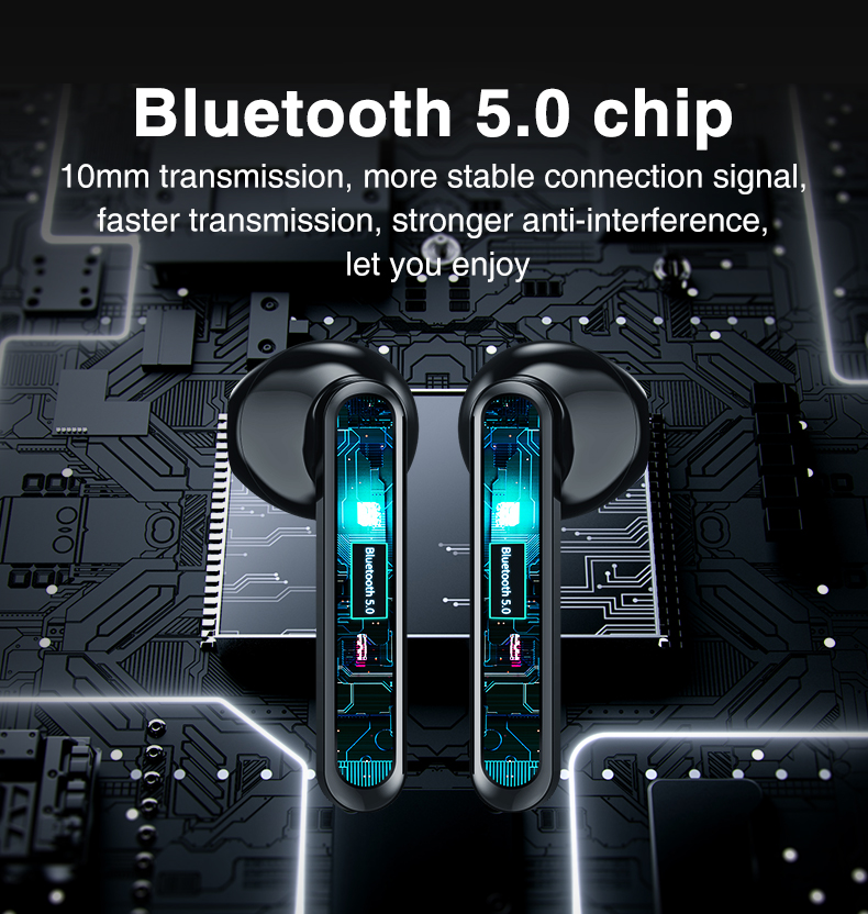 Bluetooth Wireless Headphones Touch Control LED Display Bluetooth 5.0 Gaming Headset Sports Waterproof Earphones 7