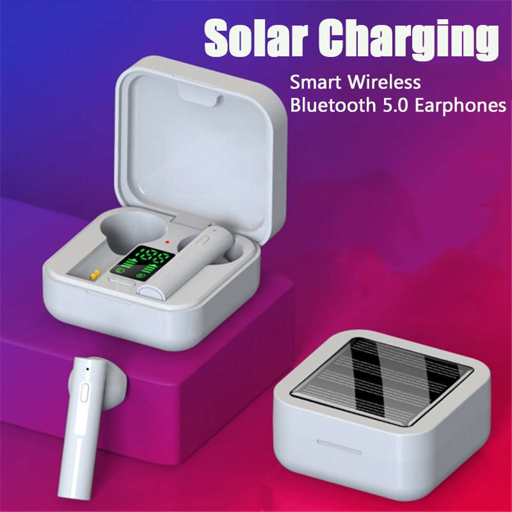 Air6 Plus Earphones TWS Wireless Bluetooth Headphones Solar Charging Earbuds Intelligent LED Display Touch Control Headsets 0