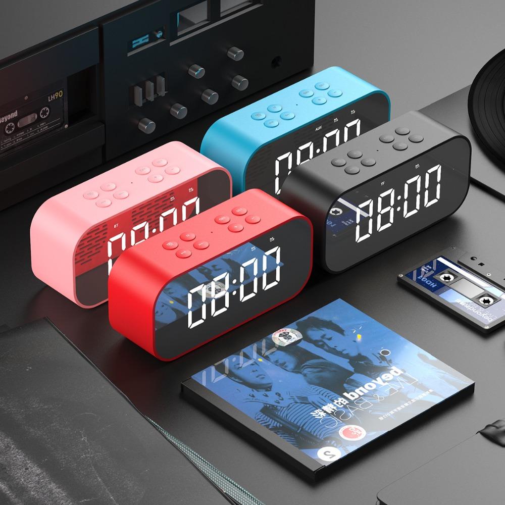 Portable Wireless Bluetooth Speaker Bluetooth 5.0 HiFi Music Column Subwoofer Desktop Mirror Screen Display Alarm Clock 7