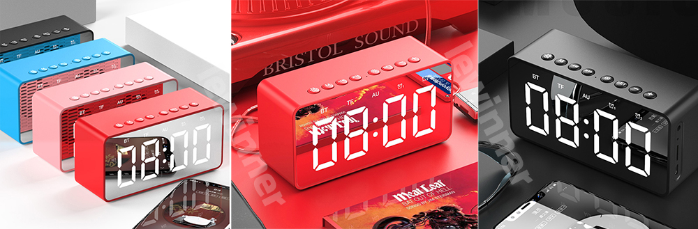 Bluetooth Speaker Column Portable Wireless Speakers Bass Stereo Subwoofer With Handsfree TF Card AUX MP3 Player Alarm Clock 8