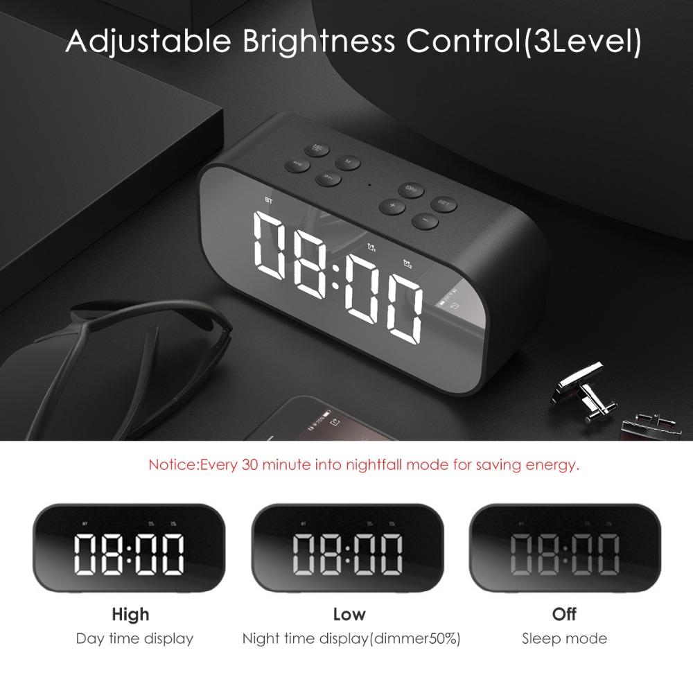 Portable Wireless Bluetooth Speaker Bluetooth 5.0 HiFi Music Column Subwoofer Desktop Mirror Screen Display Alarm Clock 5