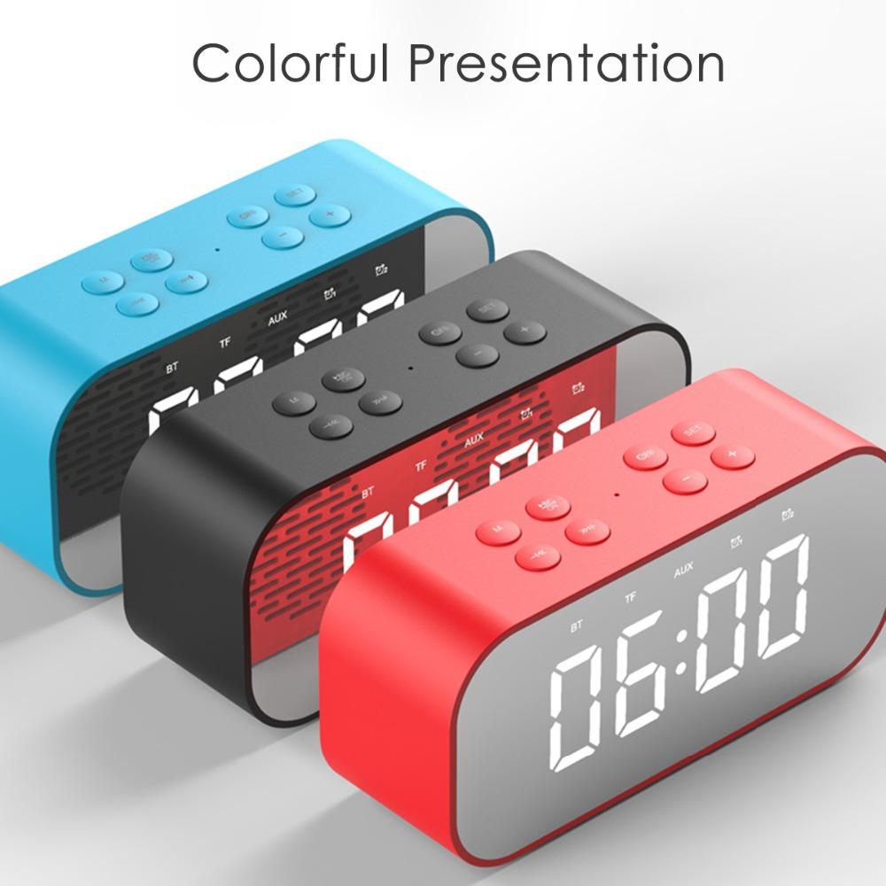 Portable Wireless Bluetooth Speaker Bluetooth 5.0 HiFi Music Column Subwoofer Desktop Mirror Screen Display Alarm Clock 1