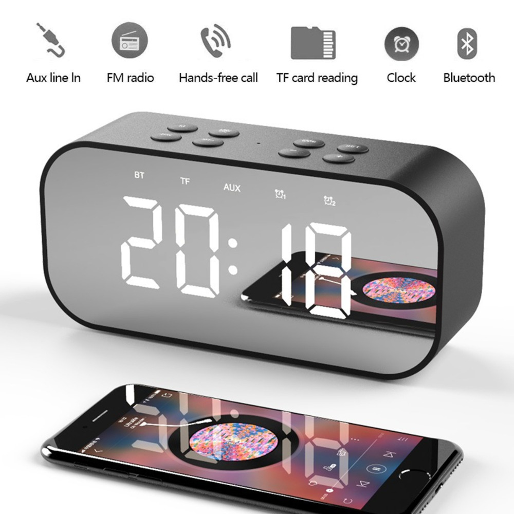 Portable Wireless Bluetooth Speaker Bluetooth 5.0 HiFi Music Column Subwoofer Desktop Mirror Screen Display Alarm Clock 0