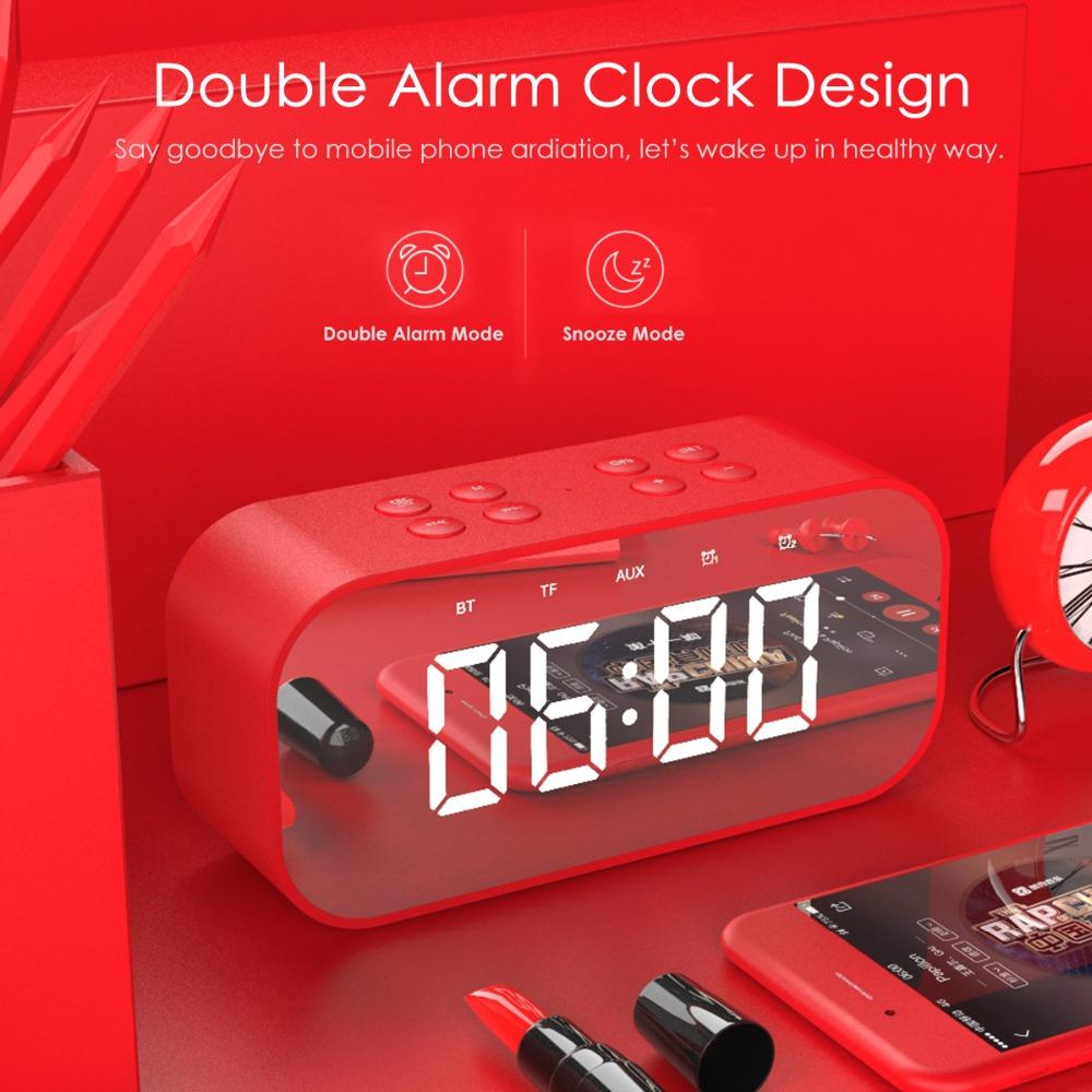 Portable Wireless Bluetooth Speaker Bluetooth 5.0 HiFi Music Column Subwoofer Desktop Mirror Screen Display Alarm Clock 4