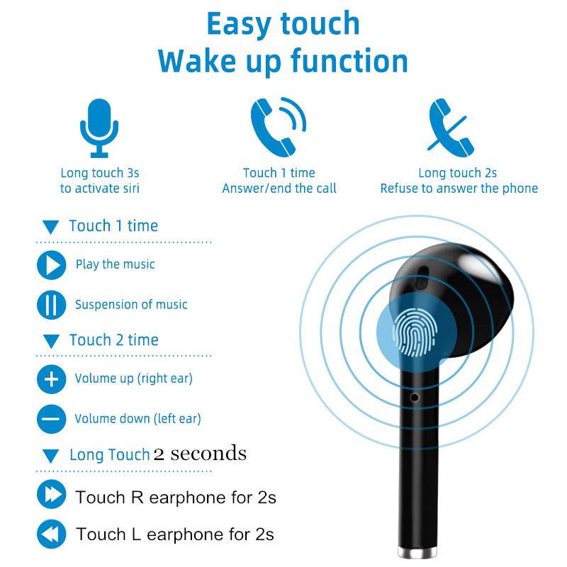 Bluetooth 5.0 Earphone Wireless Earphones Stereo Sport Wireless Headphones Earbuds headset With LED Power Display For all Phones 2