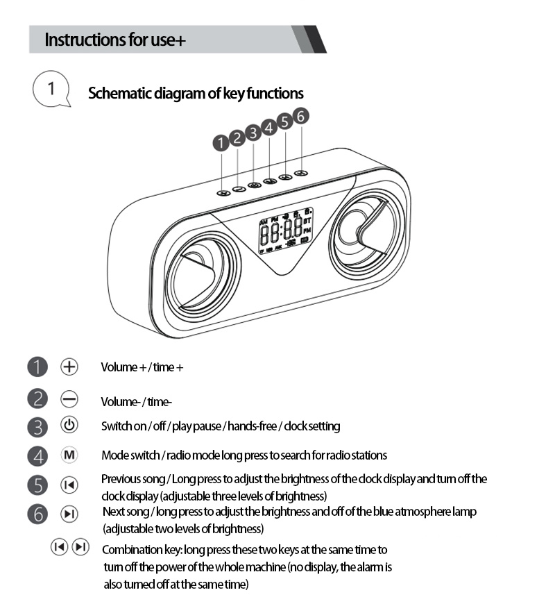 LED Portable Bluetooth Speakers 10W Wireless Stereo Bass Hifi Speaker Support TF card AUX USB Handsfree with Flash LED Clock 16