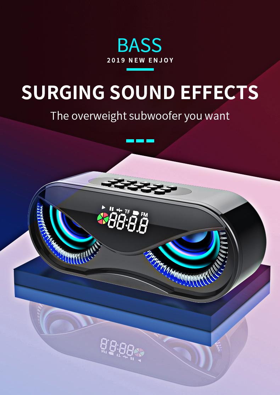 Bluetooth Speaker Cool Owl Design LED Flash Portable Wireless Loudspeaker TF Card FM Radio Alarm Clock TV Bass Smart Display M6 0