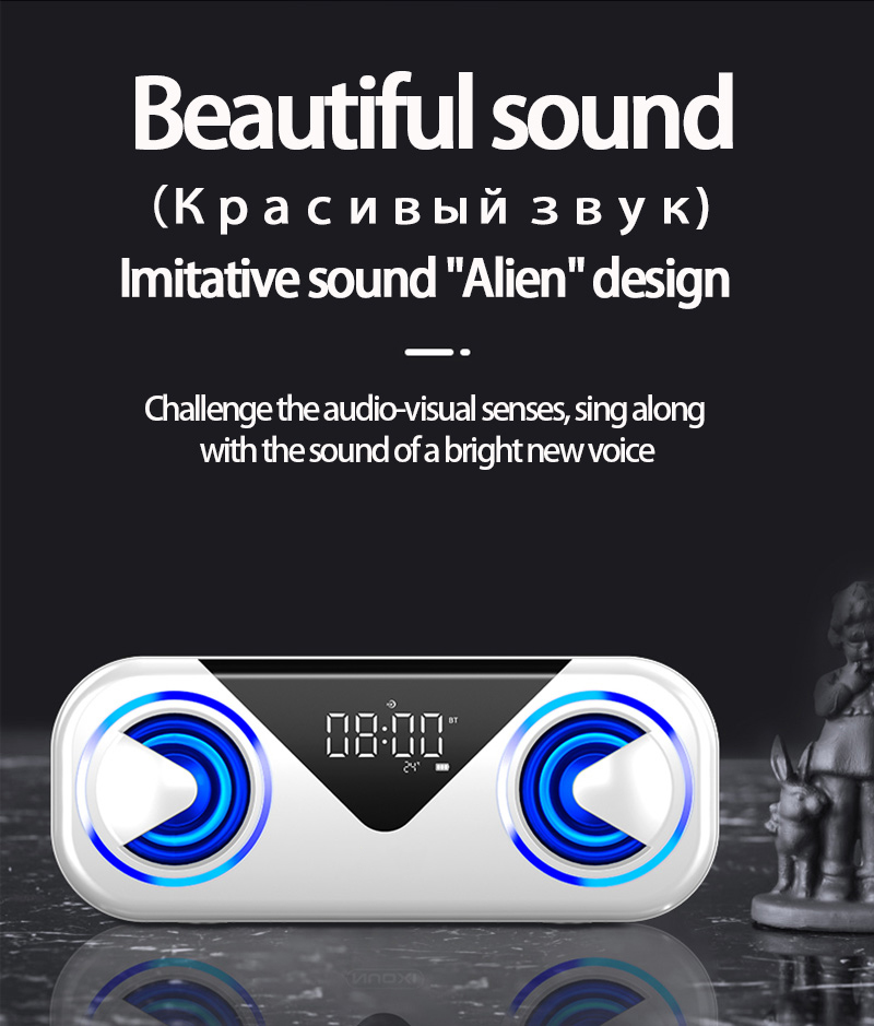 LED Portable Bluetooth Speakers 10W Wireless Stereo Bass Hifi Speaker Support TF card AUX USB Handsfree with Flash LED Clock 7