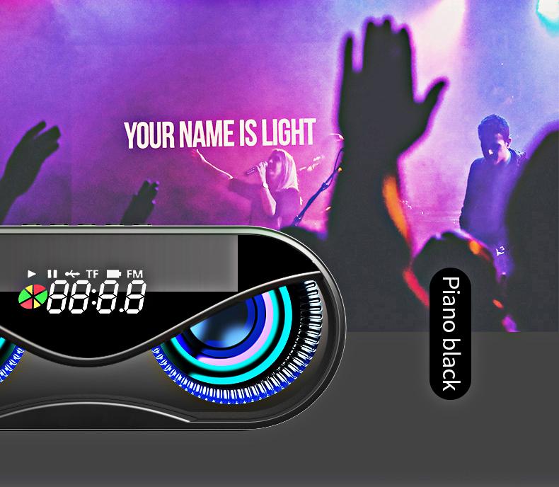 Bluetooth Speaker Cool Owl Design LED Flash Portable Wireless Loudspeaker TF Card FM Radio Alarm Clock TV Bass Smart Display M6 1