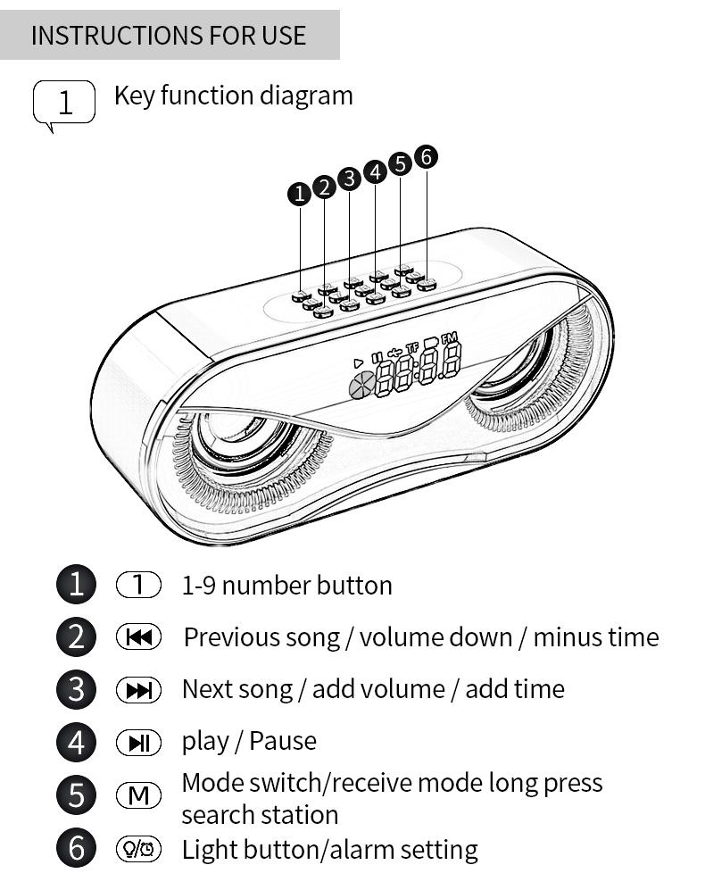 Bluetooth Speaker Cool Owl Design LED Flash Portable Wireless Loudspeaker TF Card FM Radio Alarm Clock TV Bass Smart Display M6 14