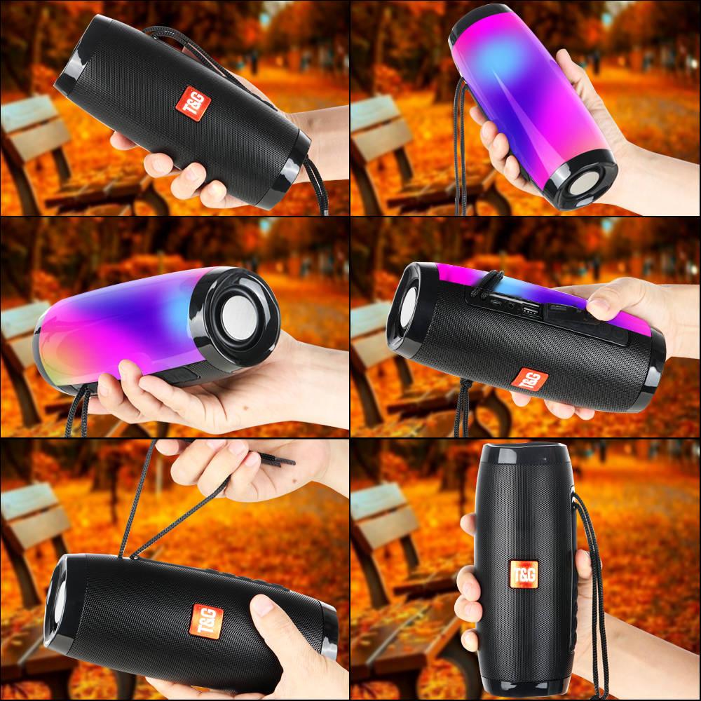 Portable Speakers Bluetooth Column Wireless Bluetooth Speaker Powerful High BoomBox Outdoor Bass HIFI TF FM Radio with LED Light 8