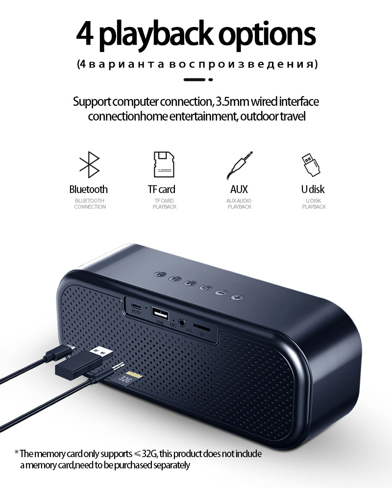 LED Portable Bluetooth Speakers 10W Wireless Stereo Bass Hifi Speaker Support TF card AUX USB Handsfree with Flash LED Clock 14