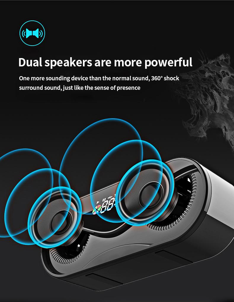 Bluetooth Speaker Cool Owl Design LED Flash Portable Wireless Loudspeaker TF Card FM Radio Alarm Clock TV Bass Smart Display M6 2