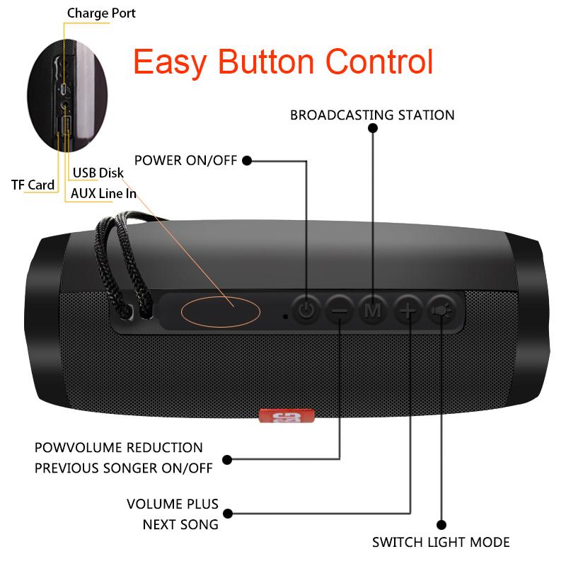 Portable Speakers Bluetooth Column Wireless Bluetooth Speaker Powerful High BoomBox Outdoor Bass HIFI TF FM Radio with LED Light 9