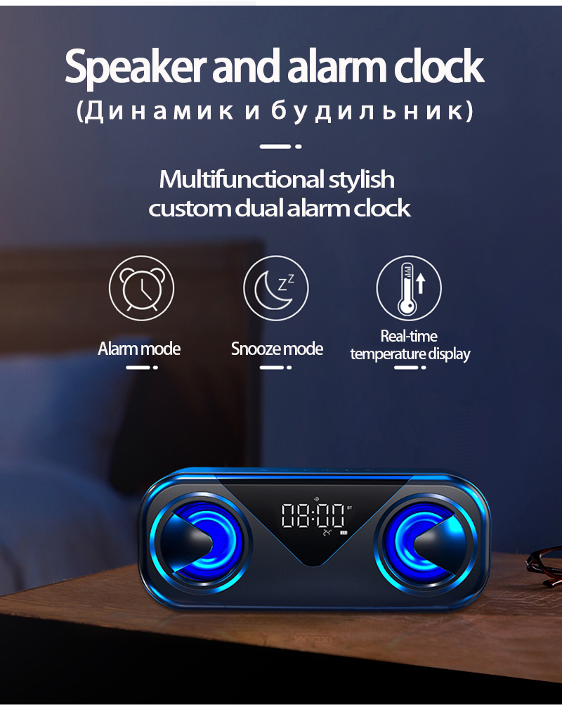 LED Portable Bluetooth Speakers 10W Wireless Stereo Bass Hifi Speaker Support TF card AUX USB Handsfree with Flash LED Clock 12