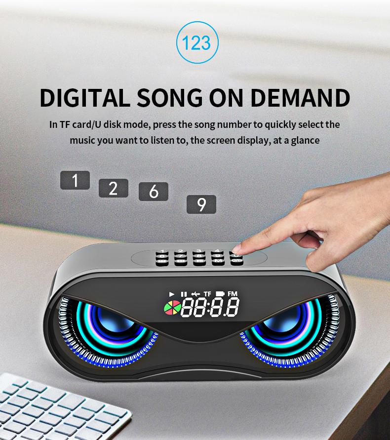 Bluetooth Speaker Cool Owl Design LED Flash Portable Wireless Loudspeaker TF Card FM Radio Alarm Clock TV Bass Smart Display M6 9