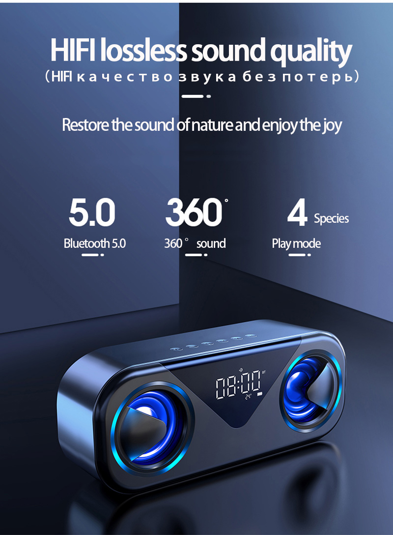 LED Portable Bluetooth Speakers 10W Wireless Stereo Bass Hifi Speaker Support TF card AUX USB Handsfree with Flash LED Clock 10