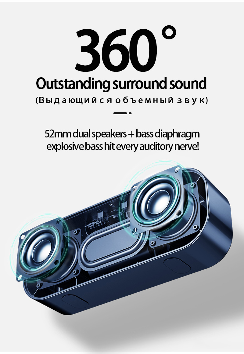 LED Portable Bluetooth Speakers 10W Wireless Stereo Bass Hifi Speaker Support TF card AUX USB Handsfree with Flash LED Clock 5