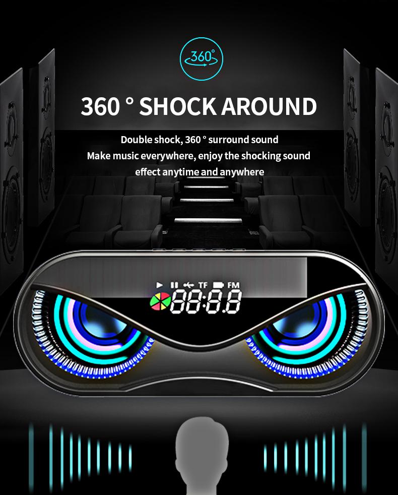 Bluetooth Speaker Cool Owl Design LED Flash Portable Wireless Loudspeaker TF Card FM Radio Alarm Clock TV Bass Smart Display M6 4