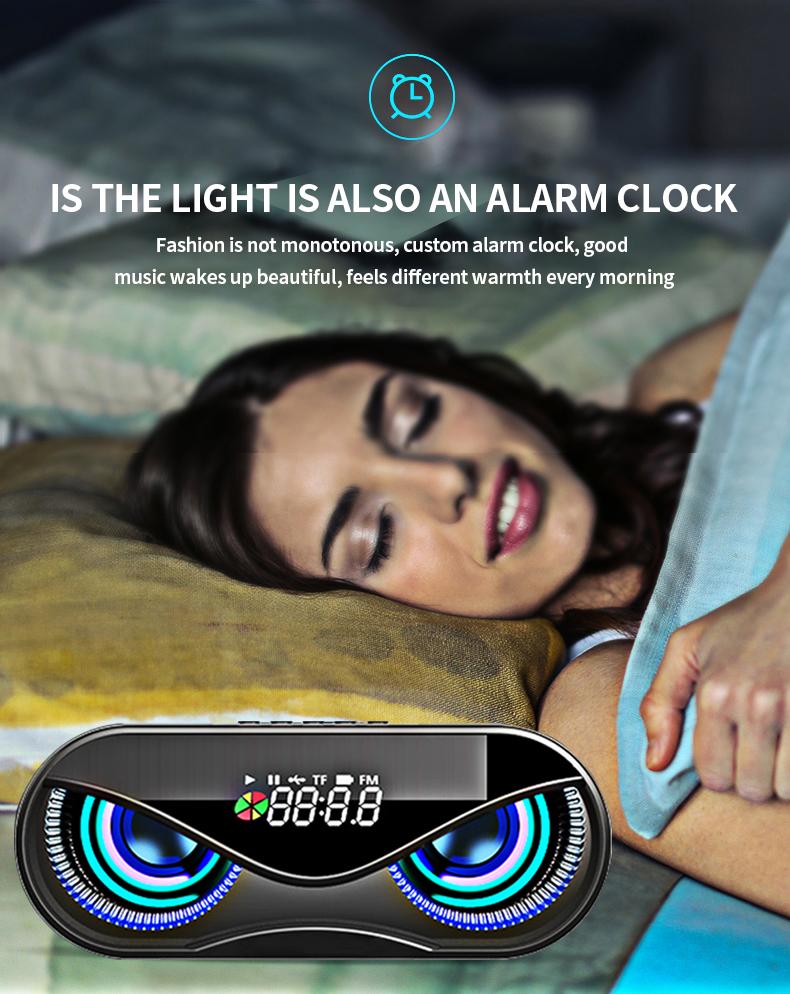 Bluetooth Speaker Cool Owl Design LED Flash Portable Wireless Loudspeaker TF Card FM Radio Alarm Clock TV Bass Smart Display M6 5