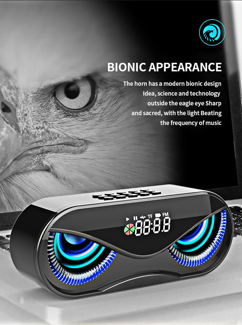 Bluetooth Speaker Cool Owl Design LED Flash Portable Wireless Loudspeaker TF Card FM Radio Alarm Clock TV Bass Smart Display M6 3