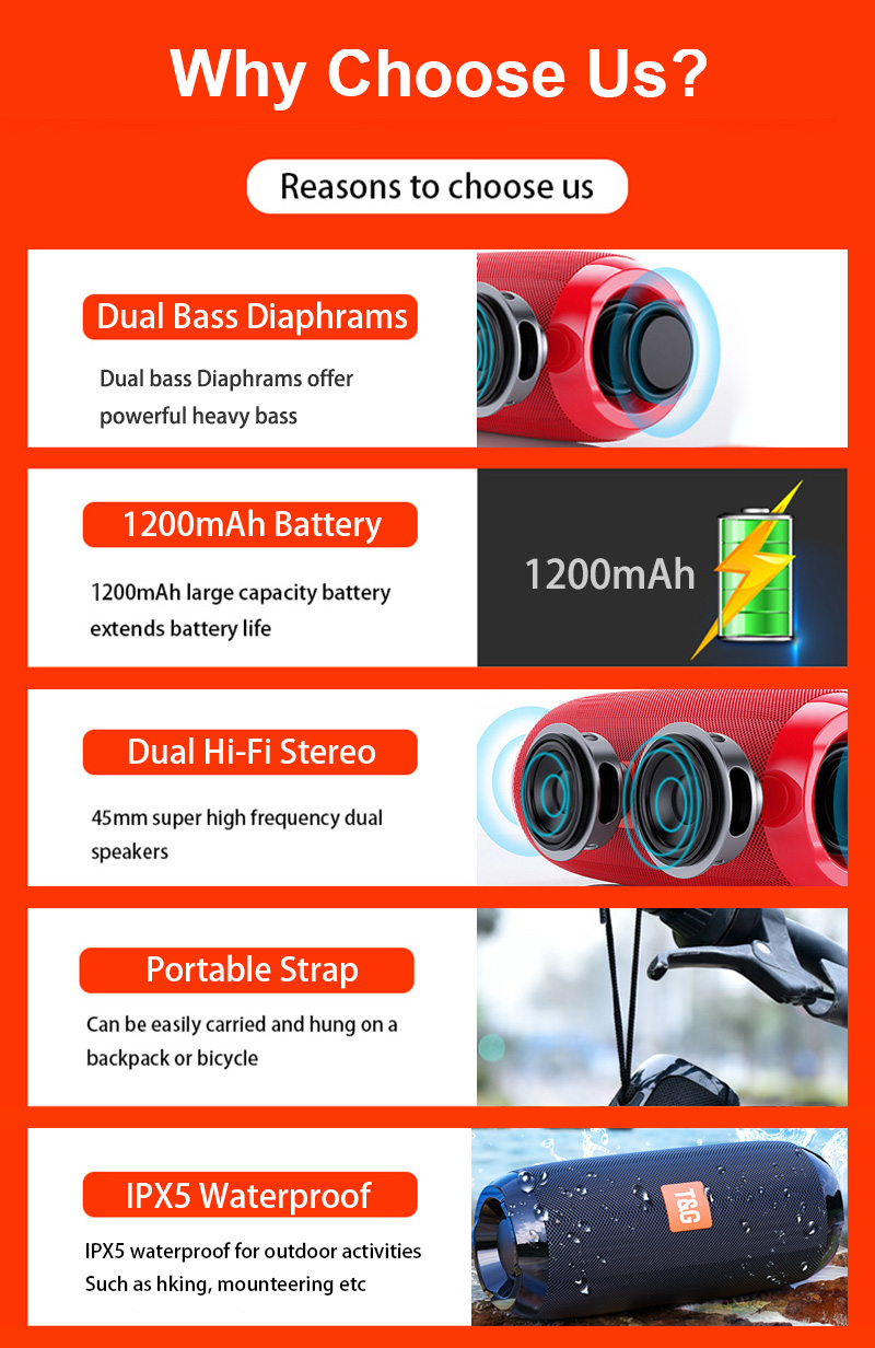 Portable Bluetooth Speaker 20w Wireless Bass Column Waterproof Outdoor USB Speakers Support AUX TF Subwoofer Loudspeaker TG117 1
