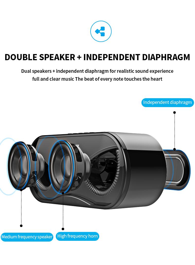Bluetooth Speaker Cool Owl Design LED Flash Portable Wireless Loudspeaker TF Card FM Radio Alarm Clock TV Bass Smart Display M6 7