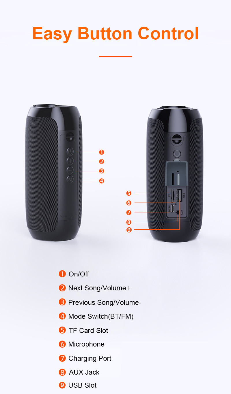 Portable Bluetooth Speaker 20w Wireless Bass Column Waterproof Outdoor USB Speakers Support AUX TF Subwoofer Loudspeaker TG117 14